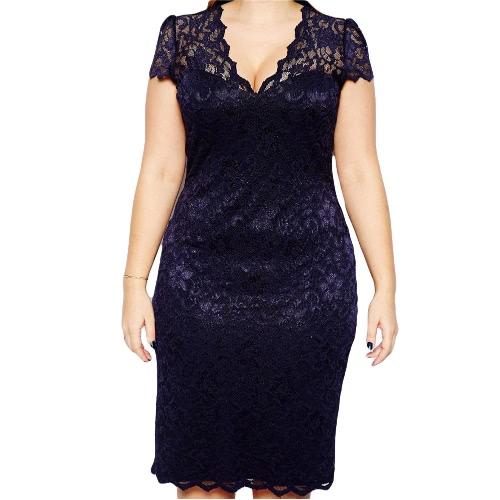 New Fashion Women Midi Dress V-Neck Floral Lace Plus Size Bodycon Pencil Dress Dark BlueApparel &amp; Jewelry<br>New Fashion Women Midi Dress V-Neck Floral Lace Plus Size Bodycon Pencil Dress Dark Blue<br>