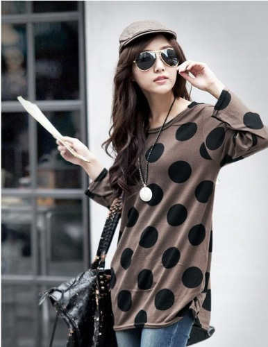 Korean Fashion Women Slouchy T-shirt Polka Dot Round Neck Knitted Long Shirt Pullover Tops CoffeeApparel &amp; Jewelry<br>Korean Fashion Women Slouchy T-shirt Polka Dot Round Neck Knitted Long Shirt Pullover Tops Coffee<br>