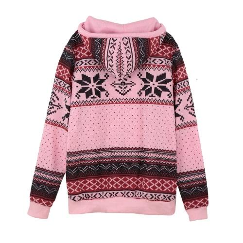 Women Hoodie Snowflake Print Long Sleeve Pullover Christmas Sweatshirt Sportwear White/Pink/GreenApparel &amp; Jewelry<br>Women Hoodie Snowflake Print Long Sleeve Pullover Christmas Sweatshirt Sportwear White/Pink/Green<br>