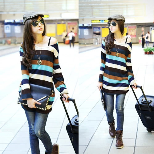 Korean Fashion Women Slouchy T-shirt Colorful Stripes Knitted Long Shirt Pullover Tops MulticolorApparel &amp; Jewelry<br>Korean Fashion Women Slouchy T-shirt Colorful Stripes Knitted Long Shirt Pullover Tops Multicolor<br>