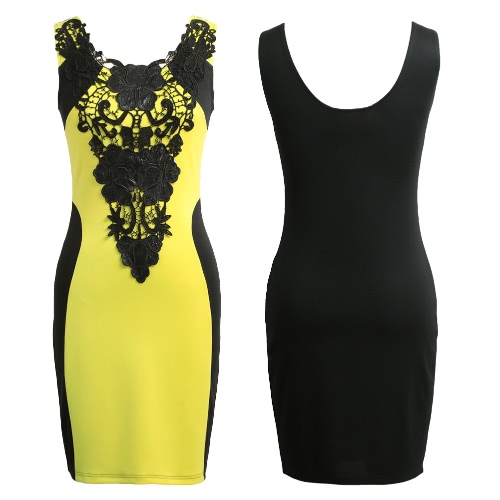 New Fashion Women Dress Floral Lace Contrast Sleeveless Bodycon Mini Casual Bandage Backless One-PieceApparel &amp; Jewelry<br>New Fashion Women Dress Floral Lace Contrast Sleeveless Bodycon Mini Casual Bandage Backless One-Piece<br>