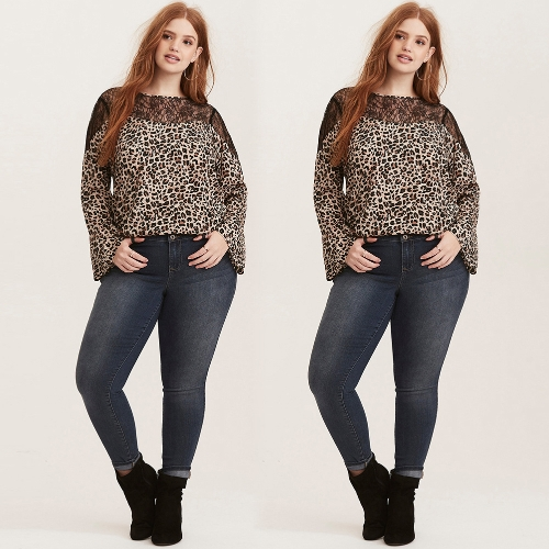Sexy Women Plus Size Leopard Print Blouse Lace Splice O Neck Flare Sleeve Pullover T-Shirt Top BrownApparel &amp; Jewelry<br>Sexy Women Plus Size Leopard Print Blouse Lace Splice O Neck Flare Sleeve Pullover T-Shirt Top Brown<br>