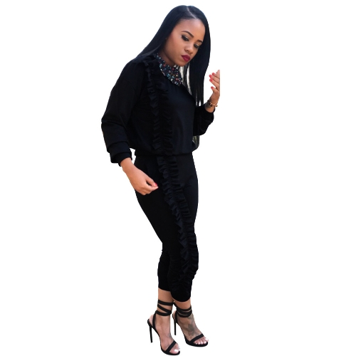 Women Two-Piece Set Tracksuit Ruffle Top Long Pants Long Sleeve Casual Sportswear Sports Suit Black/Burgundy/BlueApparel &amp; Jewelry<br>Women Two-Piece Set Tracksuit Ruffle Top Long Pants Long Sleeve Casual Sportswear Sports Suit Black/Burgundy/Blue<br>