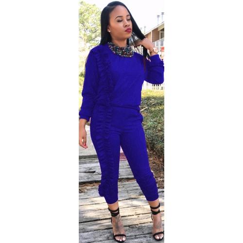 Women Two-Piece Set Tracksuit Ruffle Top Long Pants Long Sleeve Casual Sportswear Sports Suit Black/Burgundy/BlueApparel &amp; Jewelry<br>Women Two-Piece Set Tracksuit Ruffle Top Long Pants Long Sleeve Casual Sportswear Sports Suit Black/Burgundy/Blue<br>