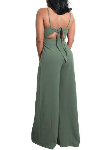 Women Wide Leg Jumpsuit Deep V Neck Tied Bow Open Back High Waist Casual Playsuit RompersApparel &amp; Jewelry<br>Women Wide Leg Jumpsuit Deep V Neck Tied Bow Open Back High Waist Casual Playsuit Rompers<br>