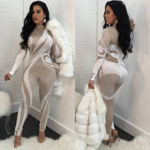 Sexy Women Jumpsuit Turtleneck Bodysuit Slim Printed Rompers Long sleeve Playsuit Female Bodycon OverallsApparel &amp; Jewelry<br>Sexy Women Jumpsuit Turtleneck Bodysuit Slim Printed Rompers Long sleeve Playsuit Female Bodycon Overalls<br>