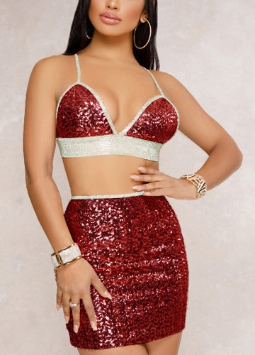Sexy Women Sequin Cami Two Piece Set Strap Crop Top Bralette Bodycon Mini Skirt Set Party Nightclub Glitter OutfitApparel &amp; Jewelry<br>Sexy Women Sequin Cami Two Piece Set Strap Crop Top Bralette Bodycon Mini Skirt Set Party Nightclub Glitter Outfit<br>