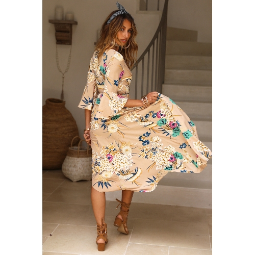 Spring Sexy Women Floral Wrapped Maxi Dress V Neck Tie Waist Flare Sleeve Split Party Dress Red/KhakiApparel &amp; Jewelry<br>Spring Sexy Women Floral Wrapped Maxi Dress V Neck Tie Waist Flare Sleeve Split Party Dress Red/Khaki<br>