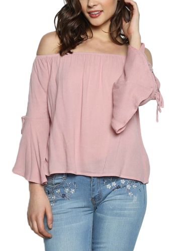 Sexy Women Off The Shoulder Flare Sleeve Blouse Slash Neck Three Quarter Sleeve Solid Loose Top PinkApparel &amp; Jewelry<br>Sexy Women Off The Shoulder Flare Sleeve Blouse Slash Neck Three Quarter Sleeve Solid Loose Top Pink<br>