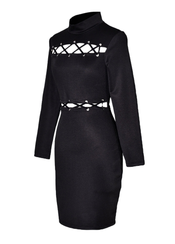 Women Package Hip Dress Turtle Neck Hollow Out Criss Cross Lacing Up Club Sheath Mini Pencil Dress Black/Burgundy/Dark BlueApparel &amp; Jewelry<br>Women Package Hip Dress Turtle Neck Hollow Out Criss Cross Lacing Up Club Sheath Mini Pencil Dress Black/Burgundy/Dark Blue<br>