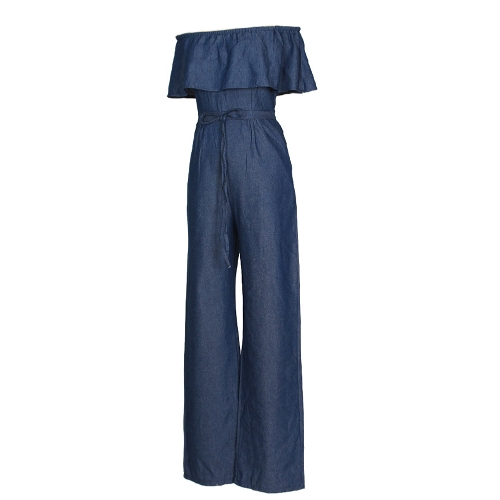 Sexy Women Off Shoulder Denim Jumpsuit Rompers Slash Neck Ruffle Wide Leg Strapless Overalls BlueApparel &amp; Jewelry<br>Sexy Women Off Shoulder Denim Jumpsuit Rompers Slash Neck Ruffle Wide Leg Strapless Overalls Blue<br>