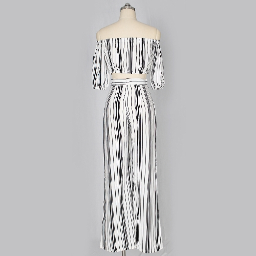 Sexy Women Striped Two Piece Set Lace Up Off Shoulder Half Sleeve Cropped Top &amp; Wide Leg Pants Suit WhiteApparel &amp; Jewelry<br>Sexy Women Striped Two Piece Set Lace Up Off Shoulder Half Sleeve Cropped Top &amp; Wide Leg Pants Suit White<br>
