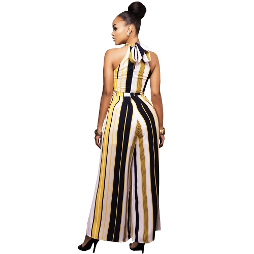 Sexy Women Striped Wide Leg Jumpsuit Halter Neck Sleeveless High Waist Romper Bodysuit Overalls Yellow/RedApparel &amp; Jewelry<br>Sexy Women Striped Wide Leg Jumpsuit Halter Neck Sleeveless High Waist Romper Bodysuit Overalls Yellow/Red<br>