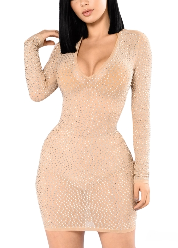 New Sexy Women Rhinestone Sheer Mini Dress Long Sleeve Scoop Neck Clubwear Party Bodycon Dress Black/BeigeApparel &amp; Jewelry<br>New Sexy Women Rhinestone Sheer Mini Dress Long Sleeve Scoop Neck Clubwear Party Bodycon Dress Black/Beige<br>