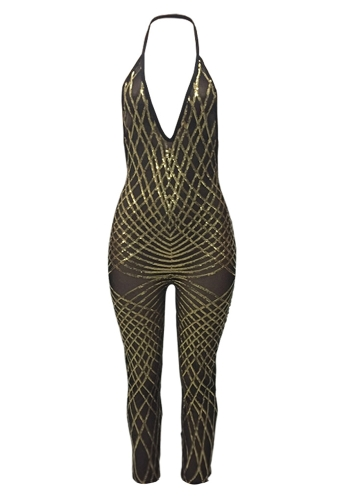 Women Jumpsuit Shiny Sequined Mesh Halter Plunge V Neck Open Back Bodycon Sexy Night ClubwearApparel &amp; Jewelry<br>Women Jumpsuit Shiny Sequined Mesh Halter Plunge V Neck Open Back Bodycon Sexy Night Clubwear<br>