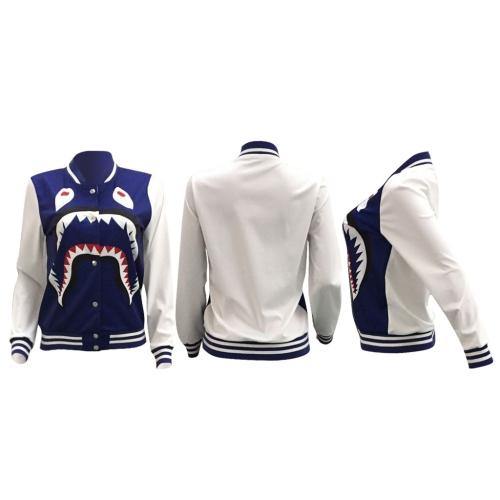 Women Bomber Jacket Shark Head Print Stripes Stand Collar Long Sleeve Buttons Casual Baseball CoatApparel &amp; Jewelry<br>Women Bomber Jacket Shark Head Print Stripes Stand Collar Long Sleeve Buttons Casual Baseball Coat<br>
