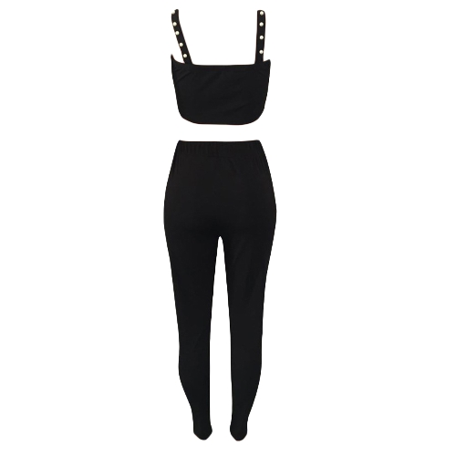 Fashion Women Two Pieces Crop Top Pencil Pants Sleeveless Pearls Slim Casual Trousers Tank TopApparel &amp; Jewelry<br>Fashion Women Two Pieces Crop Top Pencil Pants Sleeveless Pearls Slim Casual Trousers Tank Top<br>