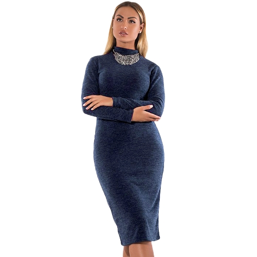 Women Turtleneck Bodycon Dress Long Sleeves Sheath Stretchy Plus Size Pencil DressApparel &amp; Jewelry<br>Women Turtleneck Bodycon Dress Long Sleeves Sheath Stretchy Plus Size Pencil Dress<br>