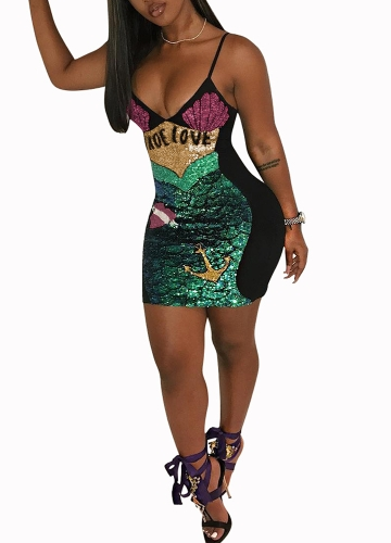 Sexy Women Sequins Slip Dress Mermaid Scale V Neck Sleeveless Slim Bodycon Sparkling Party Club Dress GreenApparel &amp; Jewelry<br>Sexy Women Sequins Slip Dress Mermaid Scale V Neck Sleeveless Slim Bodycon Sparkling Party Club Dress Green<br>