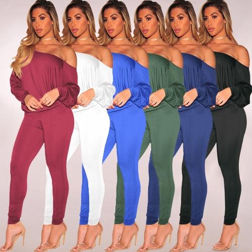 Sexy Women Solid Two Piece Set Slash Neck Off the Shoulder Long Sleeve Tops & Pants Suit
