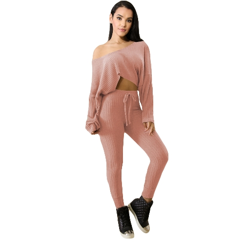 New Fashion Women Ribbed Two-Piece Set One Shoulder Crop Top Drawstring Waist Pants Tracksuit OutfitApparel &amp; Jewelry<br>New Fashion Women Ribbed Two-Piece Set One Shoulder Crop Top Drawstring Waist Pants Tracksuit Outfit<br>