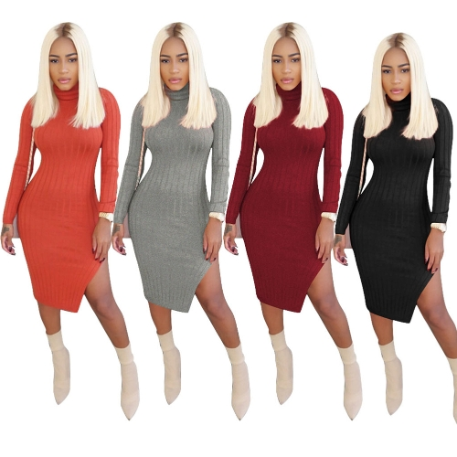 New Sexy Women Ribbed Bodycon Dress Turtle Neck Long Sleeve Party Slit Dress ClubwearApparel &amp; Jewelry<br>New Sexy Women Ribbed Bodycon Dress Turtle Neck Long Sleeve Party Slit Dress Clubwear<br>