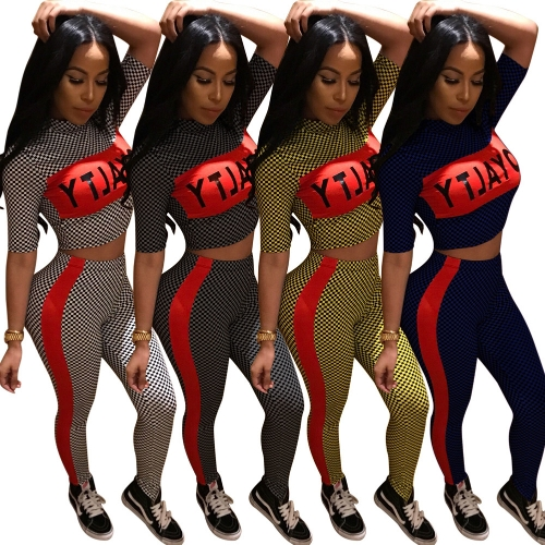 Women Tracksuit Plaid Letter Print Crop Top Short Sleeve Striped Pants Slim Two Piece Set Fitness SuitsApparel &amp; Jewelry<br>Women Tracksuit Plaid Letter Print Crop Top Short Sleeve Striped Pants Slim Two Piece Set Fitness Suits<br>