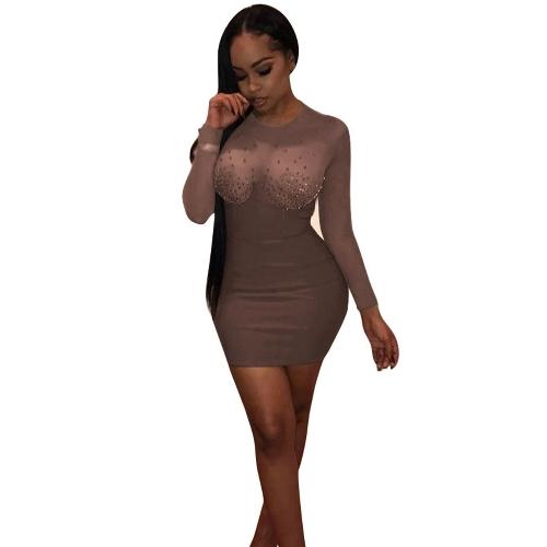 Sexy Women Rhinestone See Through Bodycon Dress Long Sleeve Diamond Evening Party Club Mini DressApparel &amp; Jewelry<br>Sexy Women Rhinestone See Through Bodycon Dress Long Sleeve Diamond Evening Party Club Mini Dress<br>