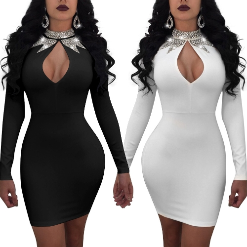 Sexy Women Glitter Diamond Cutout Bodycon Dress Long Sleeve Bling Rhinestone Party Club Mini DressApparel &amp; Jewelry<br>Sexy Women Glitter Diamond Cutout Bodycon Dress Long Sleeve Bling Rhinestone Party Club Mini Dress<br>