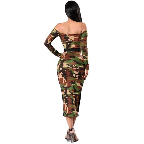 Women Camouflage Two Piece Set Tracksuit Sweat Suits Off the Shoulder T Shirt &amp; Mesh Splice Skirt Dark GreenApparel &amp; Jewelry<br>Women Camouflage Two Piece Set Tracksuit Sweat Suits Off the Shoulder T Shirt &amp; Mesh Splice Skirt Dark Green<br>
