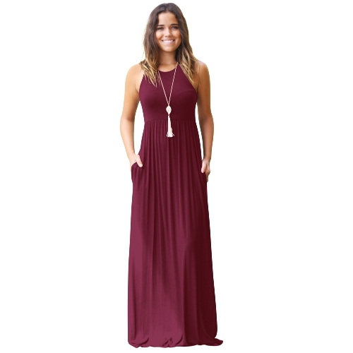 Women Dress Solid Round Neck Sleeveless Racer Back High Waist Pleated Pockets Maxi Gown Casual One-PieceApparel &amp; Jewelry<br>Women Dress Solid Round Neck Sleeveless Racer Back High Waist Pleated Pockets Maxi Gown Casual One-Piece<br>