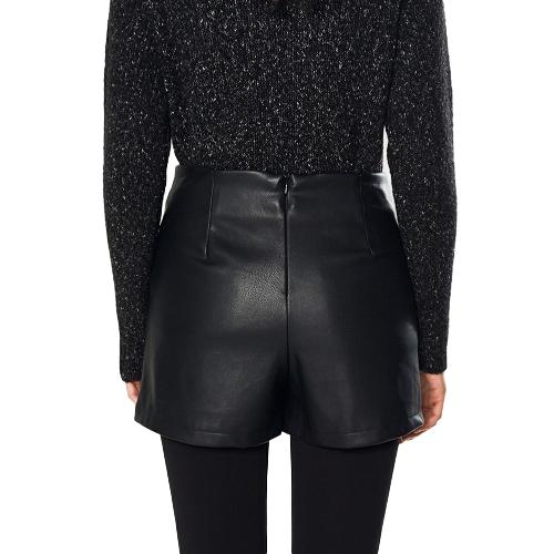 Women PU Lace Up Skirts Faux Leather Back Zipper Mini Short Pants Pantskirt SkortsApparel &amp; Jewelry<br>Women PU Lace Up Skirts Faux Leather Back Zipper Mini Short Pants Pantskirt Skorts<br>