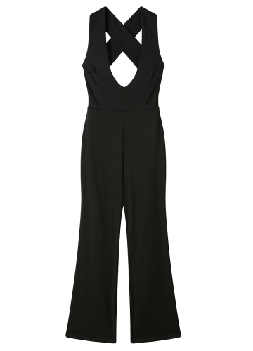 Women Bell Bottomed Jumpsuit Deep V Neck Cross Back High Waist Sleeveless Casual Playsuit Rompers BlackApparel &amp; Jewelry<br>Women Bell Bottomed Jumpsuit Deep V Neck Cross Back High Waist Sleeveless Casual Playsuit Rompers Black<br>