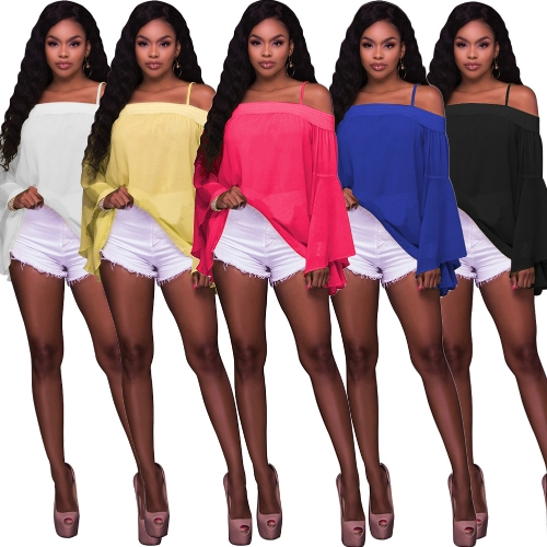 Women Solid Shirt Bardot Neck Flare Sleeve Loose Blouse Chiffon Sexy Off Shoulder TopApparel &amp; Jewelry<br>Women Solid Shirt Bardot Neck Flare Sleeve Loose Blouse Chiffon Sexy Off Shoulder Top<br>