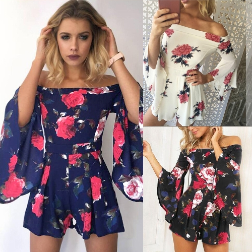 Women Rompers Shorts Jumpsuit Off Shoulder Playsuit Floral Print Beach Overalls Casual Bodysuit Beige/Black/Dark BlueApparel &amp; Jewelry<br>Women Rompers Shorts Jumpsuit Off Shoulder Playsuit Floral Print Beach Overalls Casual Bodysuit Beige/Black/Dark Blue<br>