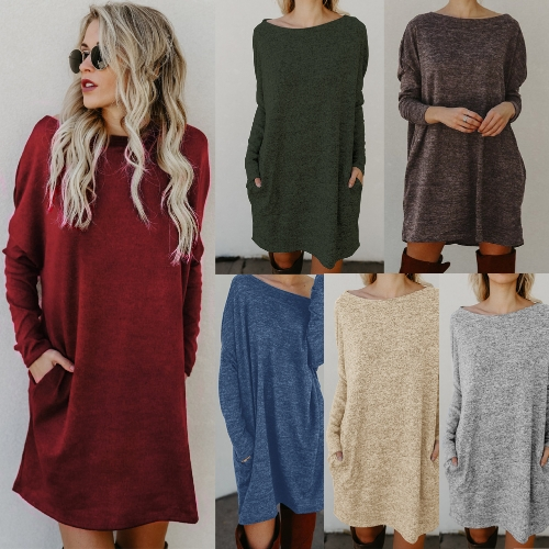 Sexy Women Loose Knit Sweater Dress Long Sleeves Pockets Solid Casual Party Mini Straight DressApparel &amp; Jewelry<br>Sexy Women Loose Knit Sweater Dress Long Sleeves Pockets Solid Casual Party Mini Straight Dress<br>