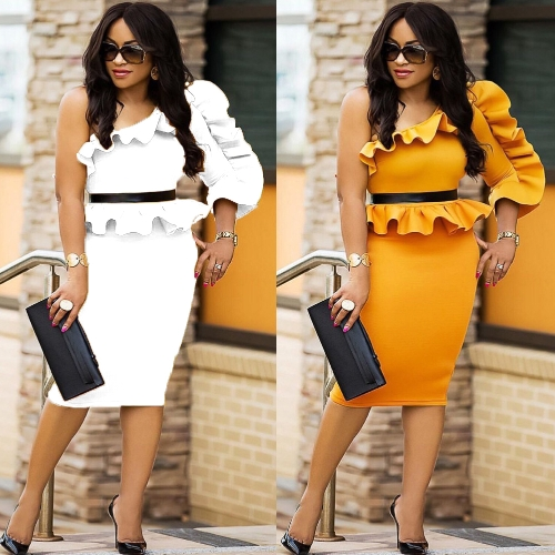 Women Dress Solid One Shoulder Asymmetric Neck Ruffle Peplum Midi Bodycon Elegant Party Wear Yellow/WhiteApparel &amp; Jewelry<br>Women Dress Solid One Shoulder Asymmetric Neck Ruffle Peplum Midi Bodycon Elegant Party Wear Yellow/White<br>