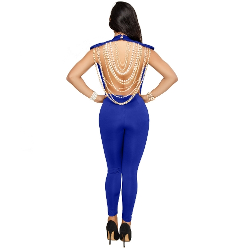 Sexy Women Pearl Chain Backless Jumpsuit O Neck Sleevelss Party Club Overalls Outfits Bodycon RompersApparel &amp; Jewelry<br>Sexy Women Pearl Chain Backless Jumpsuit O Neck Sleevelss Party Club Overalls Outfits Bodycon Rompers<br>