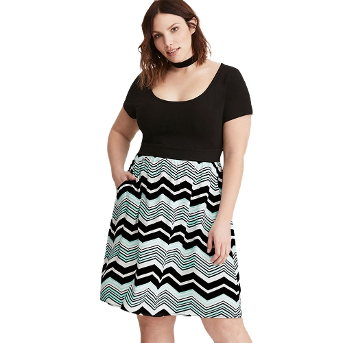 Women Plus Size Dress Stripe Print Scoop Neck Short Sleeve Casual Party Club Loose Dress Black