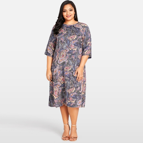 Fashion Women Plus Size Dress Paisley Floral Print O Neck 3/4 Sleeve Party Oversized Dress Blue