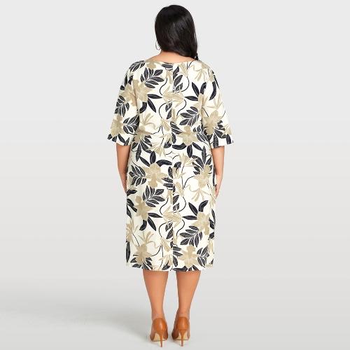 Women Plus Size Dress Leaves Floral Print Half Sleeve Casual Loose Large Size Dress Beige