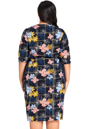 Fashion Women Plus Size Floral Print Midi Dress Half Sleeve O Neck Casual Knee Length Oversized Dress Dark Blue