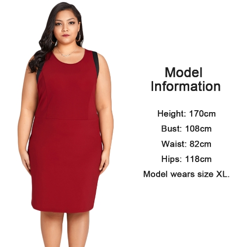 Sexy Women Plus Size Sleeveless Dress Color Splice O-Neck Zipper Elegant Party Straight Mini Dresses