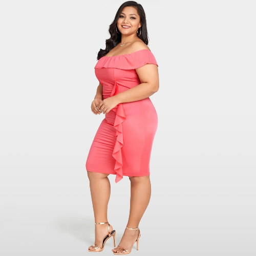 Women Sexy Off Shoulder Bodycon Dress Ruffle Elegant Slim Midi Dress Plus Size Vestidos