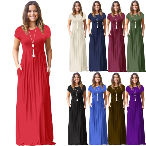 Elegant Women Maxi Long Dress Short Sleeves O-Neck Pockets Party Evening A-Line Dresses