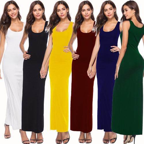 Summer Women Long Maxi Dress Scoop Neck Solid Color Beach Casual Sleeveless Dress