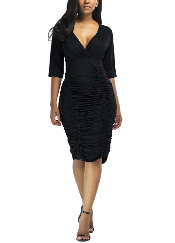 Sexy Women Ruched Bodycon Dress Deep V Neck High Waist Slim Party Club Midi Dress Plus Size VestidosApparel &amp; Jewelry<br>Sexy Women Ruched Bodycon Dress Deep V Neck High Waist Slim Party Club Midi Dress Plus Size Vestidos<br>