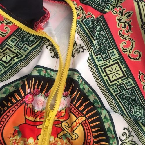 Women Printed Coat Bomber Jacket Long Sleeve Zipper Streetwear Casual Outerwear Green