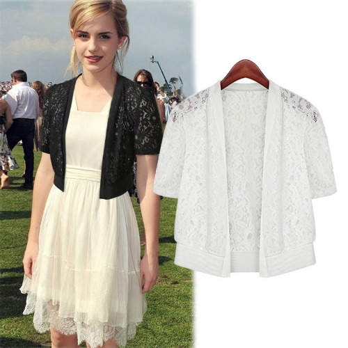 Women Lace Cardigan Open Front Short Sleeve Hollow Out Casual Office Beach Top Short Outerwear