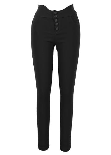 Women High Waist Skinny Pants Elastic Stretchy Solid Slim Leggings Plus Size Casual Pencil Trousers